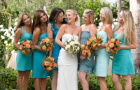 brides with bridal party