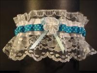 teal polks dot wedding garter