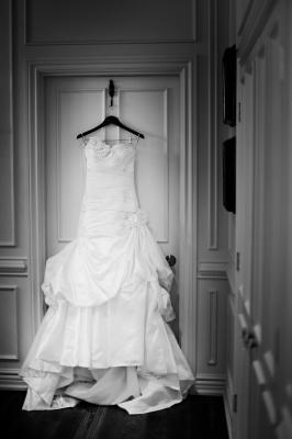 Anjolique wedding gown with fabric flower decor and full train