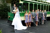 Bridal party in front of street car