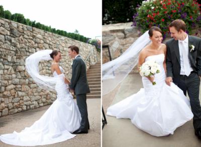 New bride and groom in designer Anjolique gown