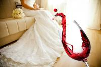 Wine spill on wedding dress